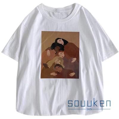 6色 Tシャツ 女性用 半袖 キャラクター柄 クルーネック 綿100% カットソー ティーシャツ トップス 薄手 通気性 吸汗速乾 着痩せ