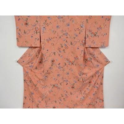 宗sou 枝葉に唐花模様小紋着物【リサイクル】【着】