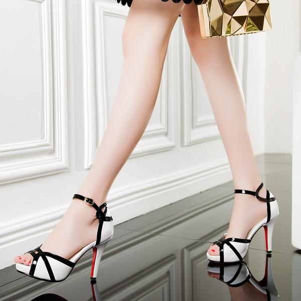 魚口鞋 2021夏魚嘴高跟涼鞋細跟仙女風一字扣帶防水臺性感顯瘦拼色女鞋子 晶彩