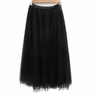 【中古】アクアガール aquagirl スカート チュール プリーツ マキシ丈 ロング丈 ドット柄 36 黒 ブラック レディース