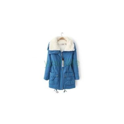 ロングジャケット レディース アウター ボアコート 中綿 無地 ジップアップ 着痩せ ドローストリング 新作 ウインターコート