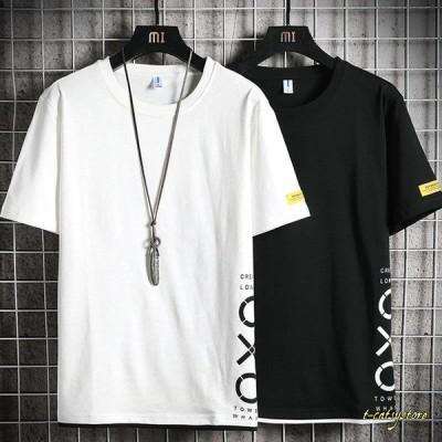 Tシャツ メンズ 夏服 無地 切り替え アメカジ  Tシャツ tシャツ トップス カットソー  半袖メンズファッション おしゃれ 白 黒