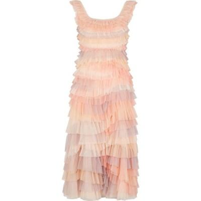 ニードル アンド スレッド Needle & Thread レディース パーティードレス ミドル丈 ワンピース・ドレス Petra ruffle-trimmed tulle midi dress Pink