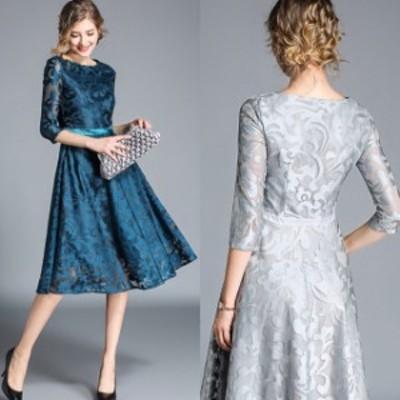 総レースドレス ワンピースドレス 七分袖 ミディ丈 フレア シースルー 大きいサイズ 2L 3L 4L お呼ばれ 結婚式 二次会 フォーマルドレス