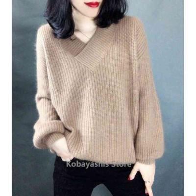 ニットセーター レディース Vネック 3色 無地 長袖 大人 ゆったり 着やすい セーター人気 トップス秋 冬