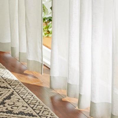 ベルメゾンデイズ 心地よい透け感を味わう。素朴な風合いの綿麻ボイルカーテン  約100×88 2枚  約200×88 1枚 ▲ 約200×108 1枚 ▲ 約100×108 2枚