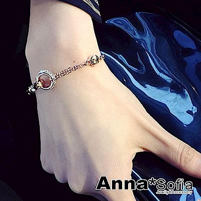 【3件5折】AnnaSofia 歐美風鍊繞交叉鑽環 手環手鍊(金系)