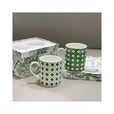 ウォーターカップ 2緑のジオメトリのパターンセットボックスバッグ磁器コーヒーミルクウォーターカップキッ?