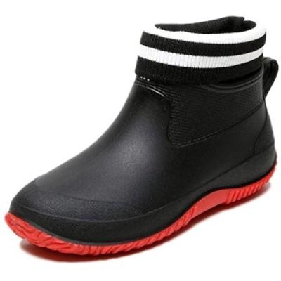 メンズ レイン シューズ 裏起毛 中敷き 付き 雨靴 防寒 ショート ブーツ 防水 おしゃれ 男性(ブラック/レッド, 26.0 cm)