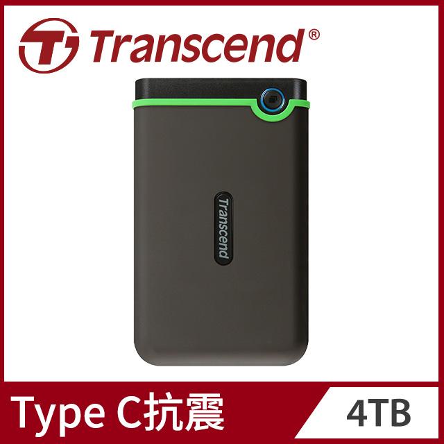 Transcend 創見 StoreJet25 M3C 4TB Type C 2.5吋行動硬碟-太空灰 (TS4TSJ25M3C)