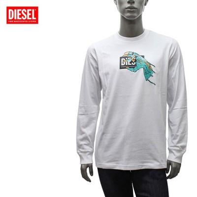 ディーゼル DIESEL  T-JUST-LS-A1 パンキッシュプリント 長袖Tシャツ【ホワイト】 A01772 HAYU 100/【2021SS】m-tops