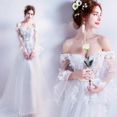 ウエディングドレス 結婚式 Aラインドレス 演奏会 安い ロングドレス 花嫁 二次会 ウェディングドレス 長袖 エンパイア Vカット 披露宴 サッシュリボン