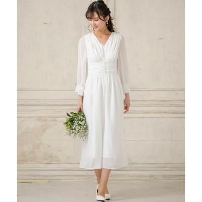 ドレス kaene/パフスリーブセミロングウェディングドレス