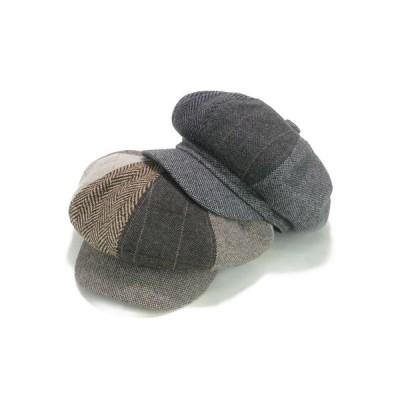 キャスケット 帽子  異素材パッチワークキャスケット ヤング