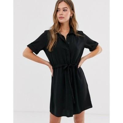 ニュールック レディース ワンピース トップス New Look tie waist detail shirt dress in black