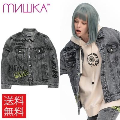 ミシカ MISHKA KEEP WATCH EMBROIDERY ART デニム ジャケット グレー 灰 MAW200512 DENIM JACKET Grey
