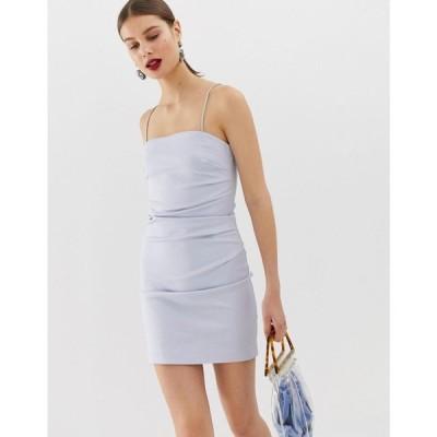 リバーアイランド River Island レディース ワンピース ミニ丈 ワンピース・ドレス mini dress with diamante straps in blue ブルーライト