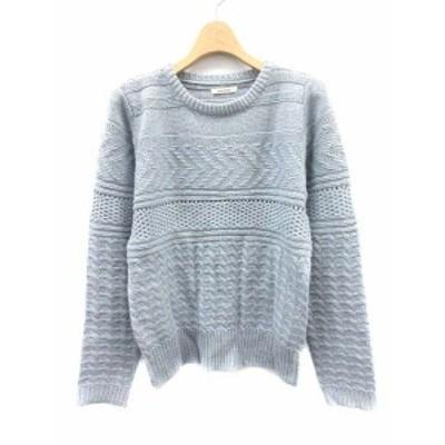 【中古】シンプリシテェ Simplicite ニット セーター ウール混 長袖 水色 /YI48 レディース