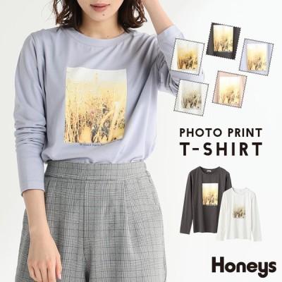 Tシャツ ロンt カットソー レディース 長袖 綿100% プリント おしゃれ 秋 冬 SALE セール Honeys ハニーズ フォトプリントTシャツ
