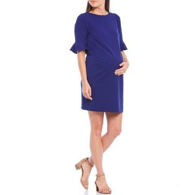 アレックスマリー レディース ワンピース トップス Kacey Ruffle Elbow Sleeve Maternity Dress in Black Sapphire