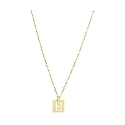 14k Yellow Gold Square Tile Cut-Out Initial Pendant Necklace (letter b)