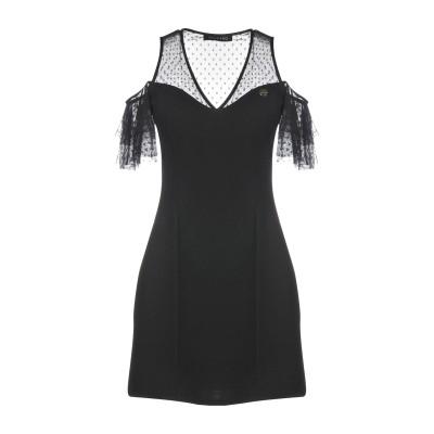 MANGANO ミニワンピース&ドレス ブラック L 96% ポリエステル 4% ポリウレタン ミニワンピース&ドレス