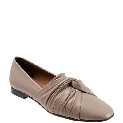 ブエノ レディース サンダル シューズ Emma Leather Pleated Knot Slip-On Flat Loafers Grey