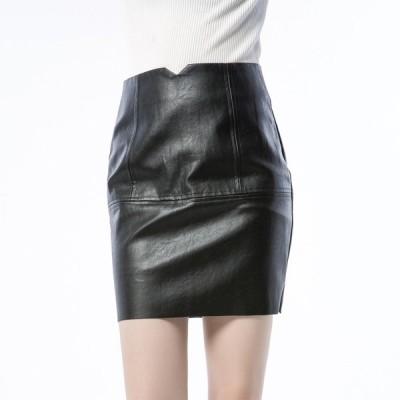 革スカート タイトスカート 膝上丈 ペンシルスカート レディース レザースカート PUレザー ハイウェスト
