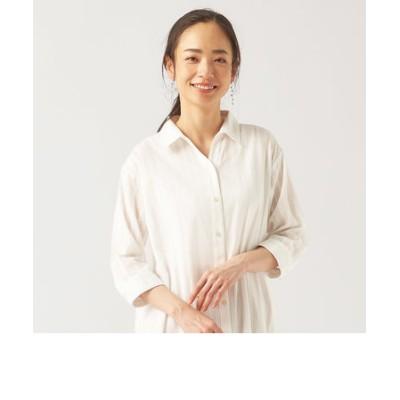 レディース ウィメンズ カジュアル 七分袖 ロングシャツ スキッパー衿 オフホワイト×無地調