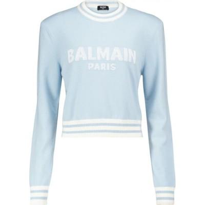 バルマン Balmain レディース ニット・セーター トップス Logo wool and cashmere-blend sweater Bleu Pale/Blanc