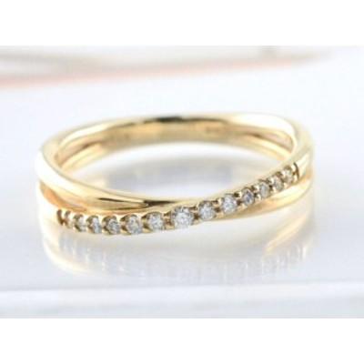 リング ダイヤモンド 指輪 クロス イエローゴールド k10 クロスライン ゴールド 10k