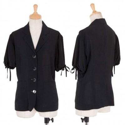 ジュニアゴルチエJUNIOR GAULTIER 半袖絞りシースルージャケット 黒40 【レディース】