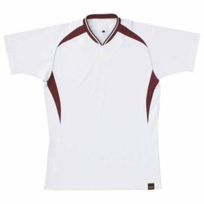 ゼット ベースボールシャツ(1つボタン)(ホワイト/エンジ・サイズ:SS) Z-BOT740A-1168-SS【返品種別A】
