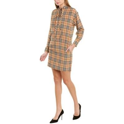 バーバリー ワンピース トップス レディース Burberry Vintage Check Tie-Neck Silk Shift Dress -