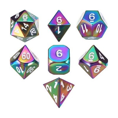 ダイメタル多面体ダイス7点セット DND ロールプレイングゲームダイスセット 収納バッグ付き RPGダンジョンズ&ドラゴンズ&D数学教育 (レインボー