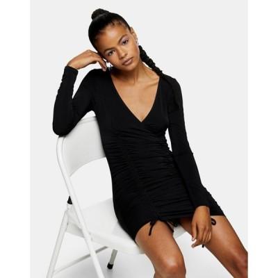 トップショップ レディース ワンピース トップス Topshop ruched side slinky mini dress in black