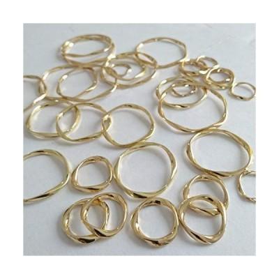 Copeflap ゴールド フープ 4サイズ 32個セット 透かしパーツ ひねり ひねりチャーム チャーム ハンドメイド パーツ (ゴールド)