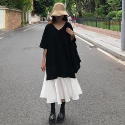 ワンピース レディース 40代 マキシワンピース 半袖ワンピース 体型カバー 黒白切り替え 春夏 可愛い 大きいサイズ ロングスカート カジ