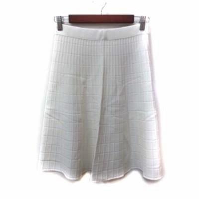 【中古】未使用品 カルバンクライン CALVIN KLEIN フレアスカート ニット ひざ丈 4 白 ホワイト /YI レディース