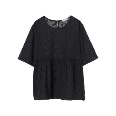 シャツ ブラウス インドコットン 総柄刺繍ペプラムブラウス *◇