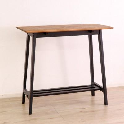 バーカウンターでも使えるスッキリデザインの可愛いハイカウンター100cm幅カントリーダイニングテーブル ブラック