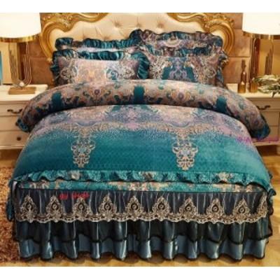 1120BS13-6新品 高級ワイドダブル ベッド用品4点セット 寝具 ボックスシーツ 枕カバー掛け布団カバー ベッドカバー