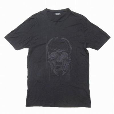 【中古】ザラマン ZARA MAN Tシャツ 半袖 スカル 刺繍 丸首 黒 L トップス メンズ