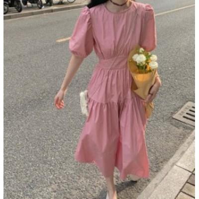 ワンピース ロング 春 韓国 ファッション レディース パフスリーブ ハイウエスト リボン フレア ティアード 半袖 大人可愛い きれいめ