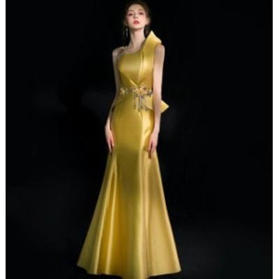 2020年新作 送料無料 イブニングドレス マーメイドライン 花柄 イエロー ロングドレス 誕生日会 パーティー 成人式 演奏会 結婚式 二次会