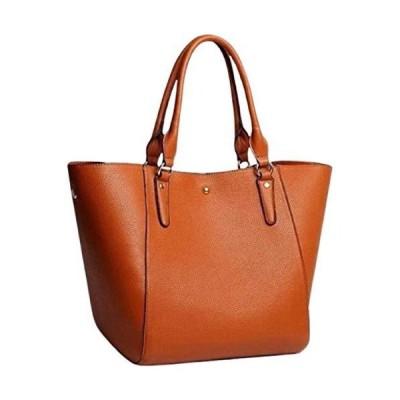 ARARAGI シンプル トートバッグ ショルダーバッグ レディース 大容量 PU レザー 通勤 旅行 バッグ カバン 鞄 (ブラウン)