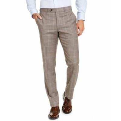 マイケルコース メンズ カジュアルパンツ ボトムス Men's Classic-Fit Airsoft Stretch Brown Windowpane Suit Pants Brown