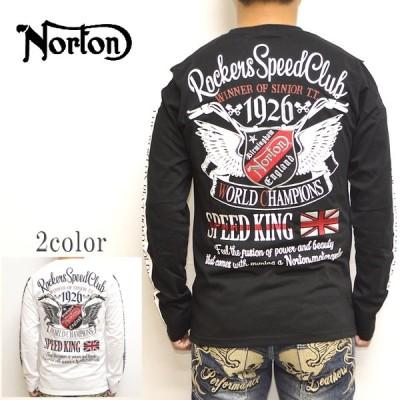ノートン Norton 服 アパレル 203N1105 長袖Tシャツ ドライ袖ラインMAX ロンT ロゴ バイク バイカー 刺繍 プリント メンズ トップス