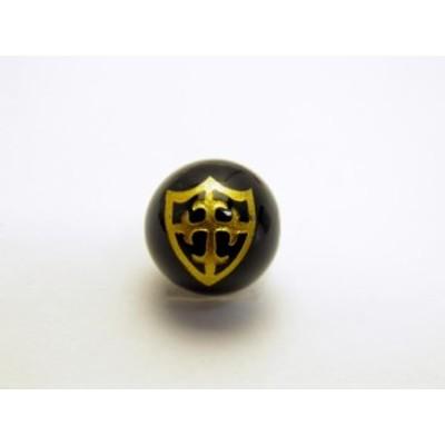金色 盾・十字架の彫刻入り オニキスAAA 12mm玉ビーズ 【彫刻 一粒売りビーズ】天然石 パワーストーン
