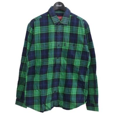 SUPREME チェックシャツ ネイビー×グリーン サイズ:S (原宿店) 210213
